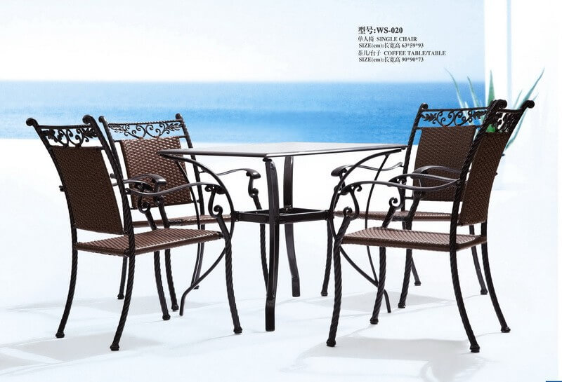 Iron Antique Outdoor Patio Dining Set Furniture For 4