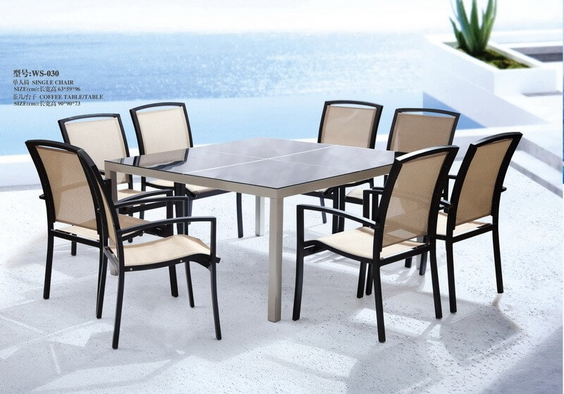 Outdoor Square Patio Table And Chairs For 8 People Hotel