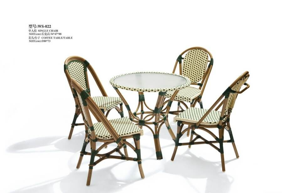 Small Round Rattan Dining Table And Chairs For 4 Hotel