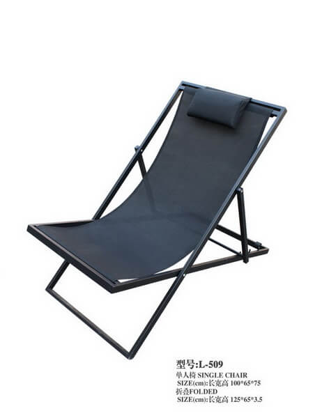 Tremendous Black Metal Frame Reclining Sun Lounger With Mesh Hotel Caraccident5 Cool Chair Designs And Ideas Caraccident5Info