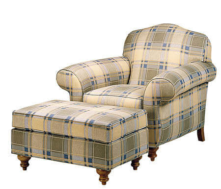 modern_comfortable_tartan_fabric_leisure_chair_ottoman_wood_frame_1